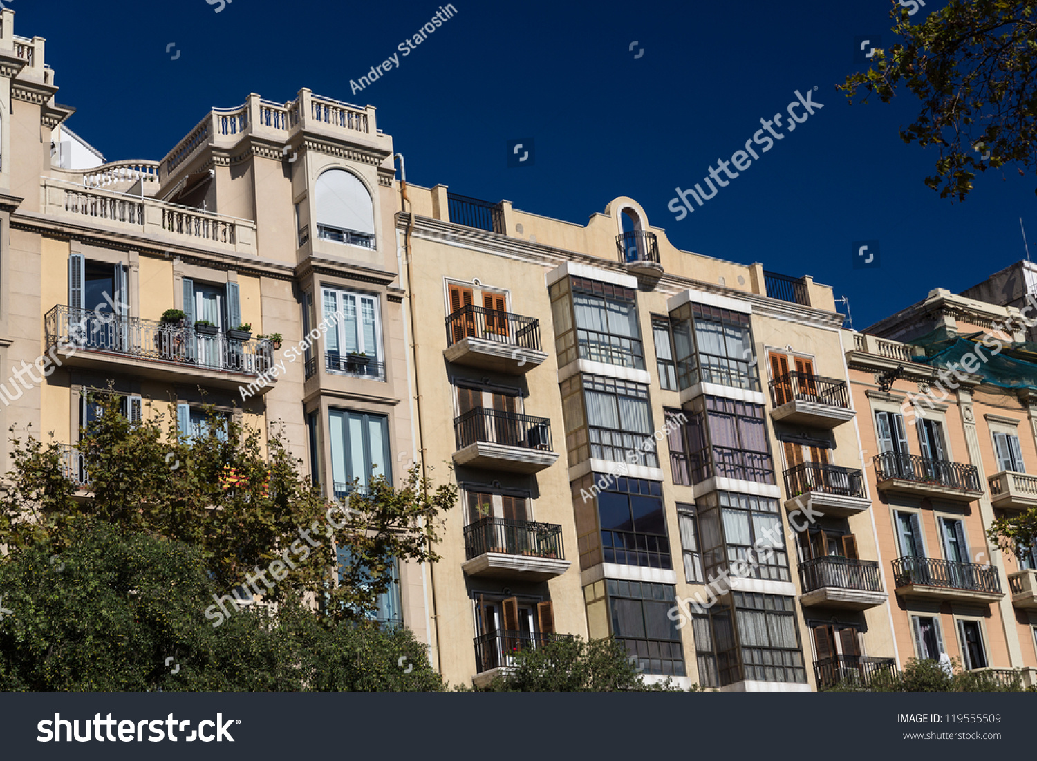 Buildings 39 facades of great architectural interest in the city of barcelona spain stock photo - Apartamentos dv barcelona ...