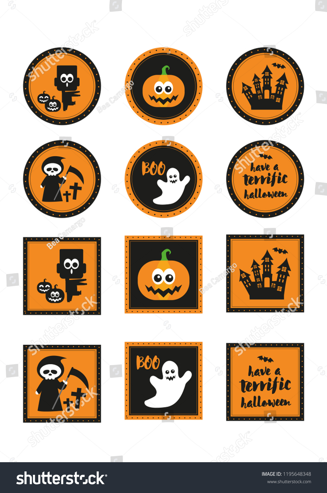 image regarding Halloween Stickers Printable called Cupcake Toppers Halloween Halloween Sweet Bar Inventory Vector