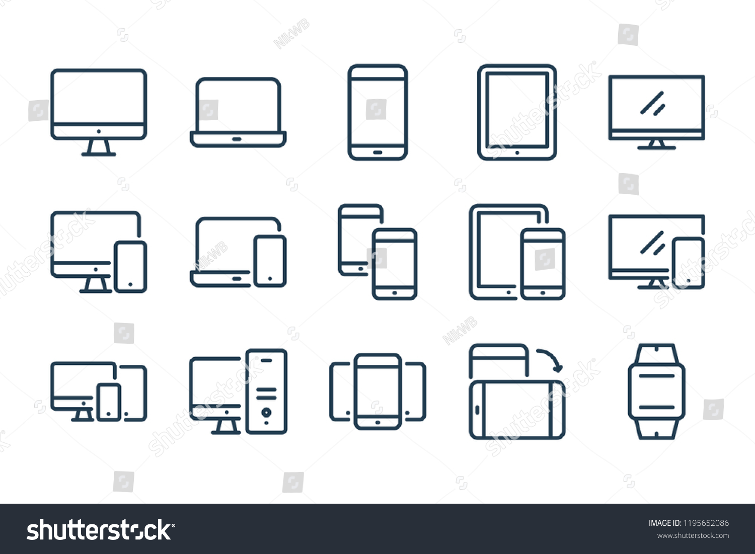 Device line icons. vector linear icon set.