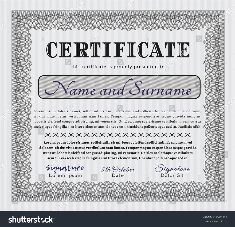 Grey Certificate Template Diploma Template Nice Stock Vector