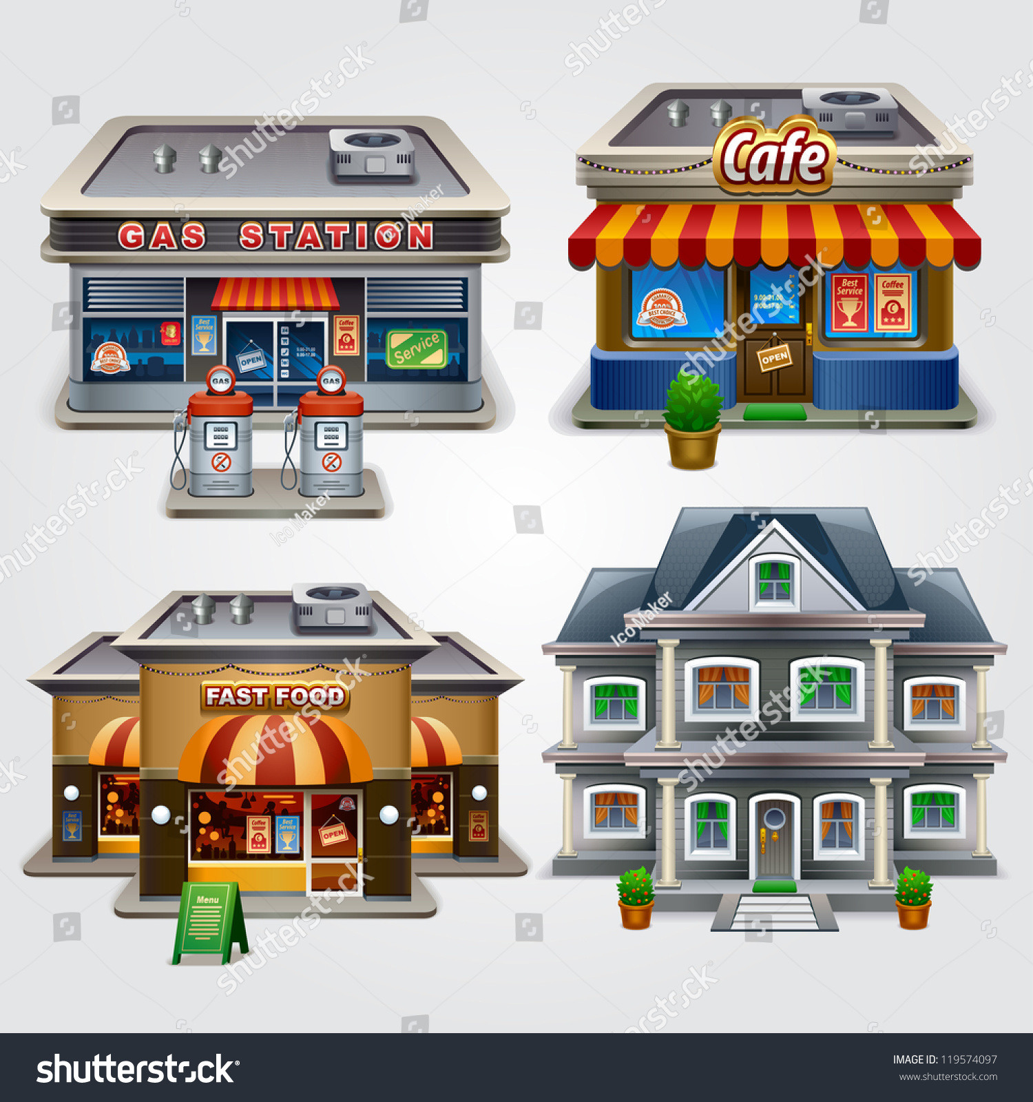 Vector illustration store gas station cafe stock vector for Fast house music
