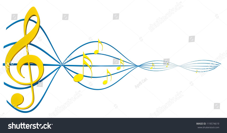 Gold Musical Score Treble Clef Symbol Stock Illustration 119574619