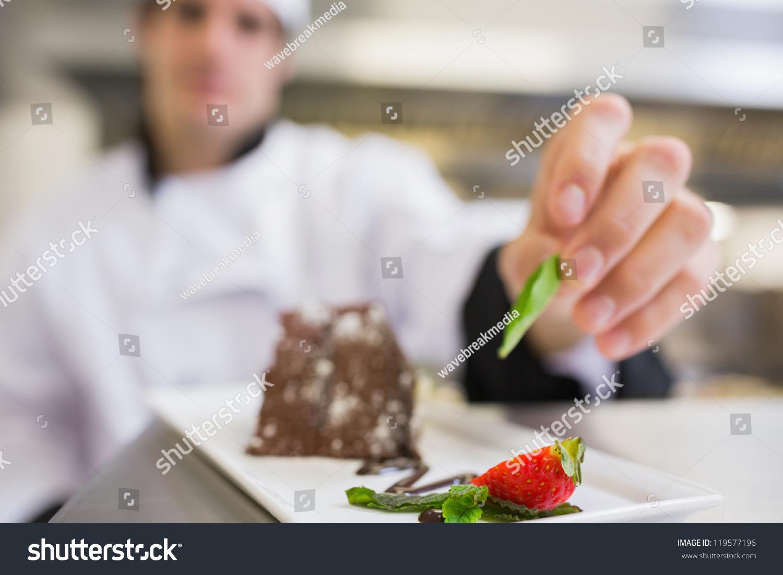 Chocolate Cake Getting Finishing Touch Buy Stock Photo 119577196 ...