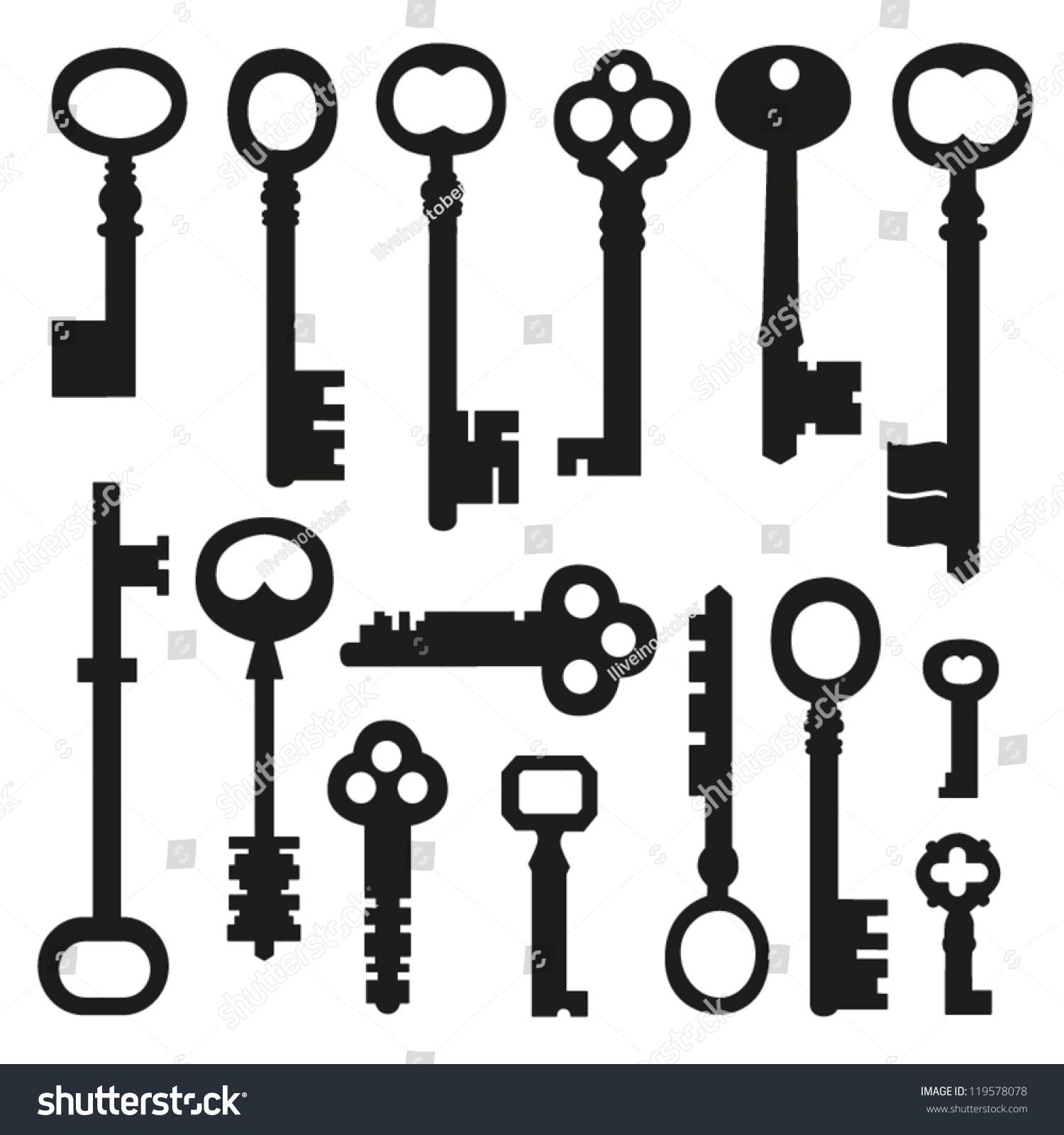 Vector Key Illustration: Set Different Key Shape Vector Illustration Stock Vector