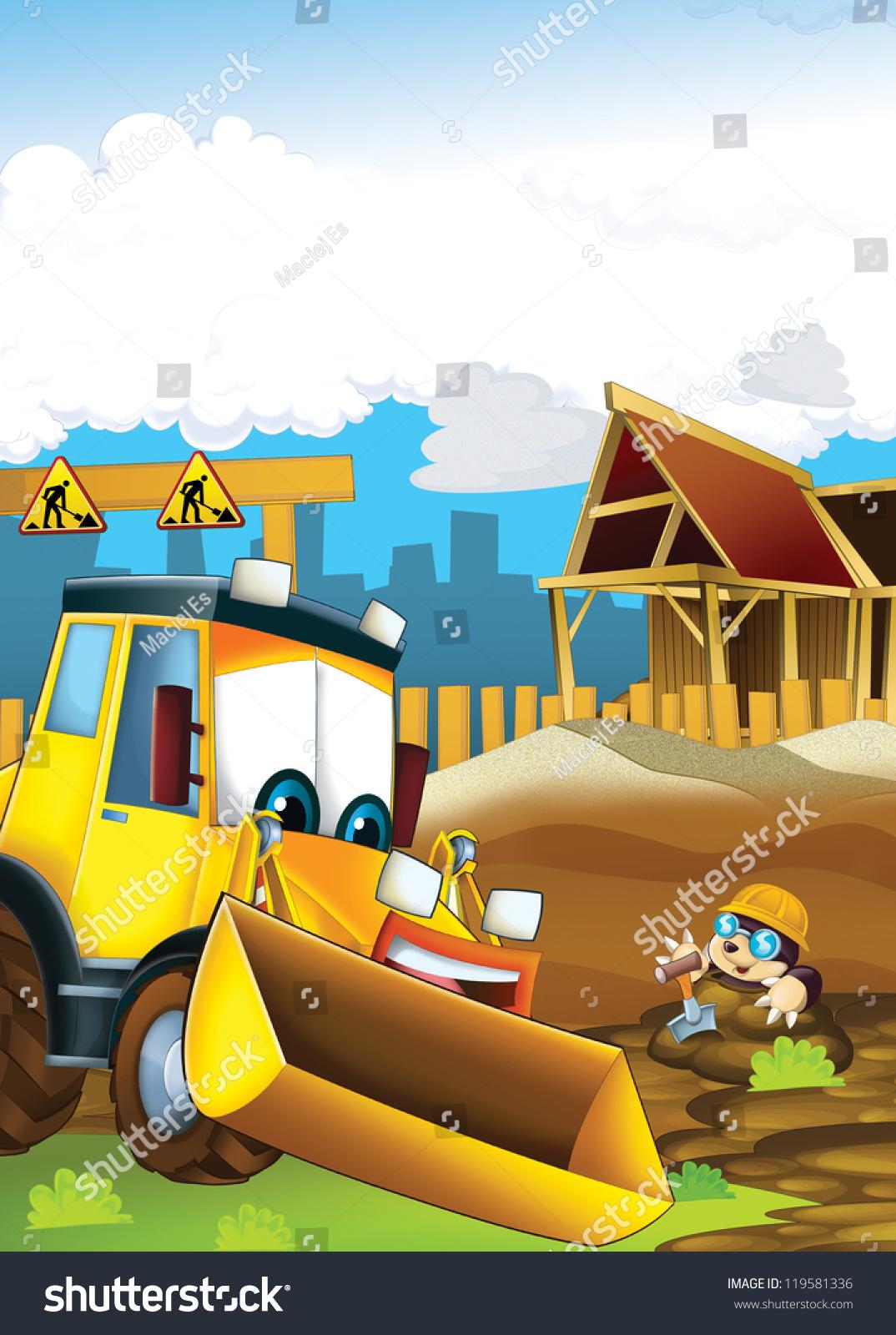 cartoon digger illustration children stock illustration 119581336