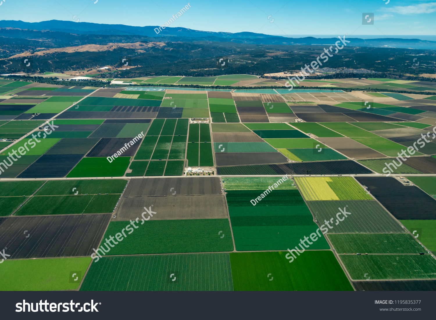 Pacific coast of California with farmland close to the cities of Salinas and Monterey. The picture was taken in the early July.