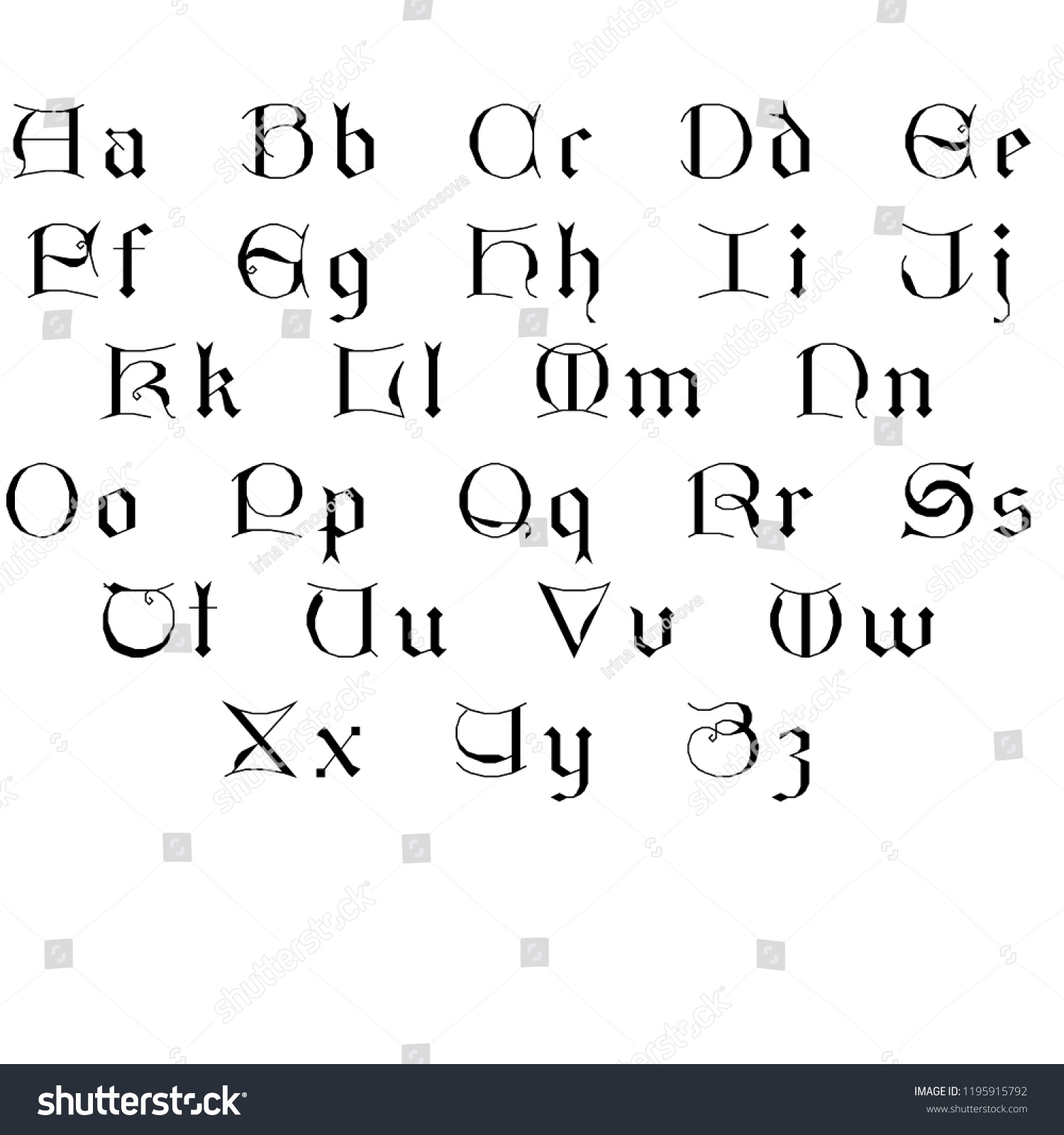 Gothic Alphabet Black Lettres Stock Illustration 1195915792