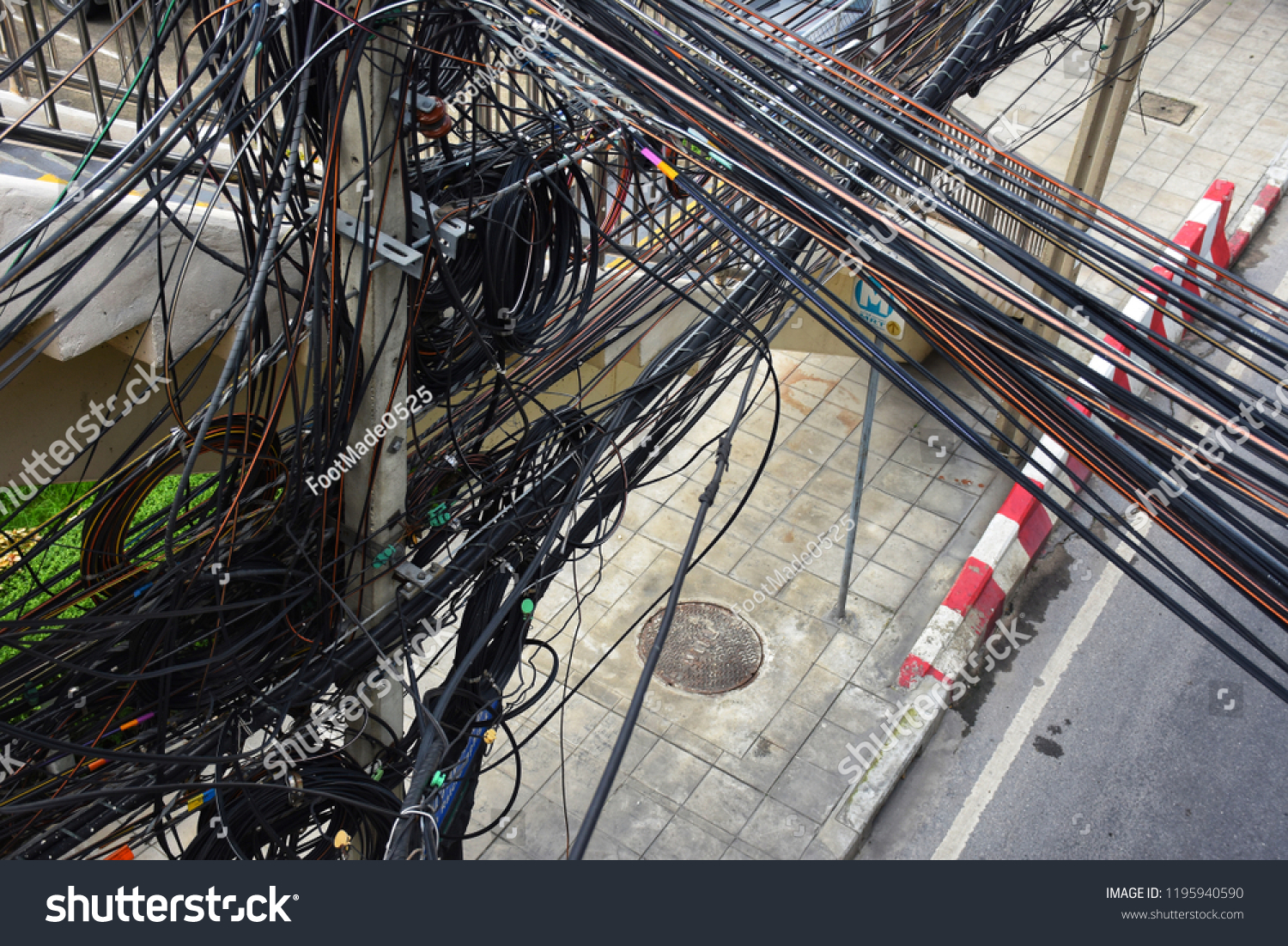 Tangled Cables Messy Electricity System Bangkok Stock Photo Edit Wiring And In City Thailand Electrical Wires Hang