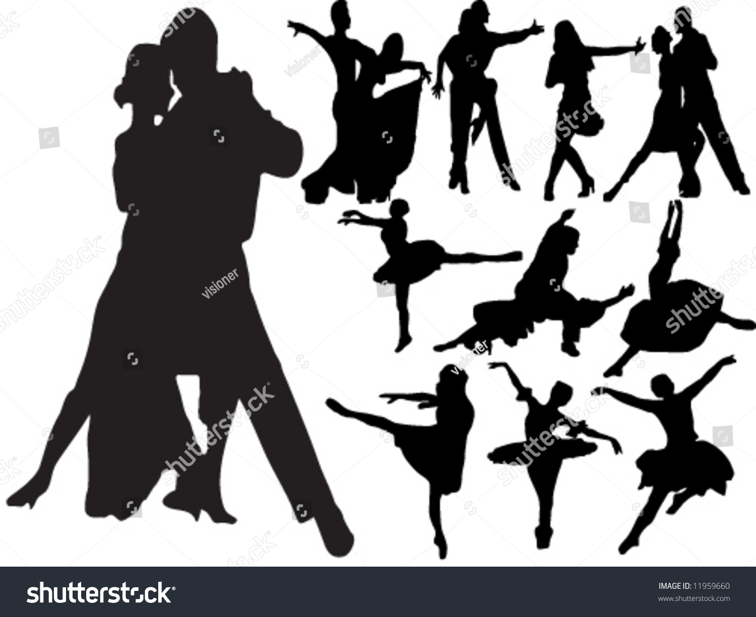 Silhouettes People Dancing Different Types Dance Stock Vector ...