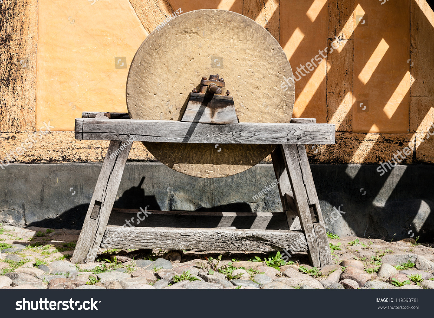Mounted On Wooden Frame Old Grinding Stock Photo 119598781