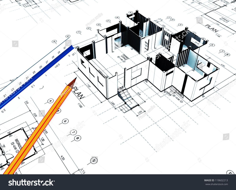 3 D Home Plot Plan White Background Stock Illustration 119602213 ...