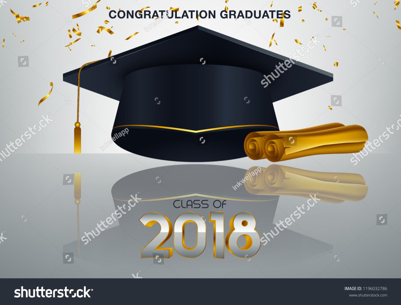 Graduate Caps Confetti On White Background Stock Vector Royalty