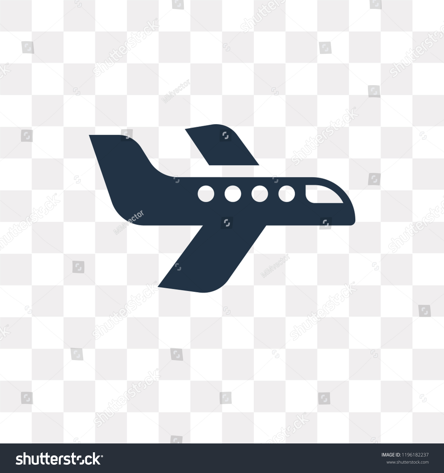 Airplane Vector Icon Isolated On Transparent Stock Vector Royalty