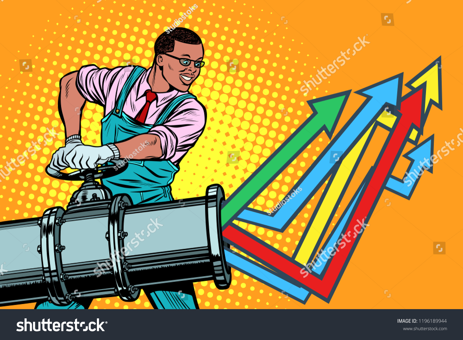 African Businessman Opens Pipe Growth Chart Stock Vector