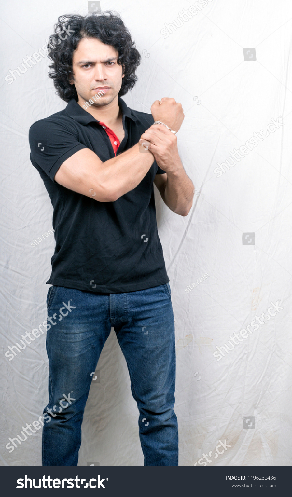 8f05ce530e Indian Male Model Anger Pose Wearing Stock Photo (Edit Now ...