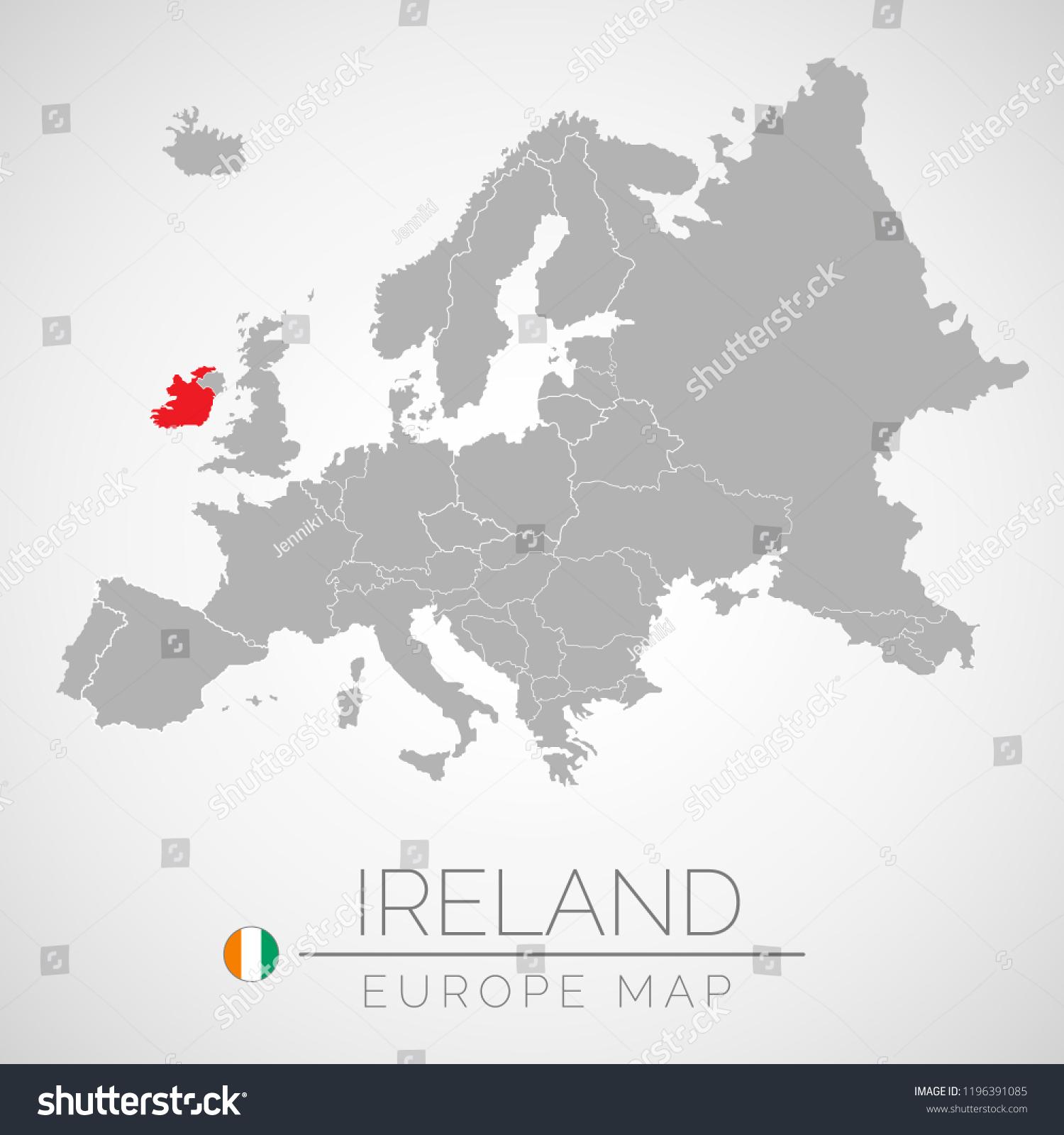 Ireland Map Of Europe.Map European Union Identication Ireland Map Stock Vector Royalty