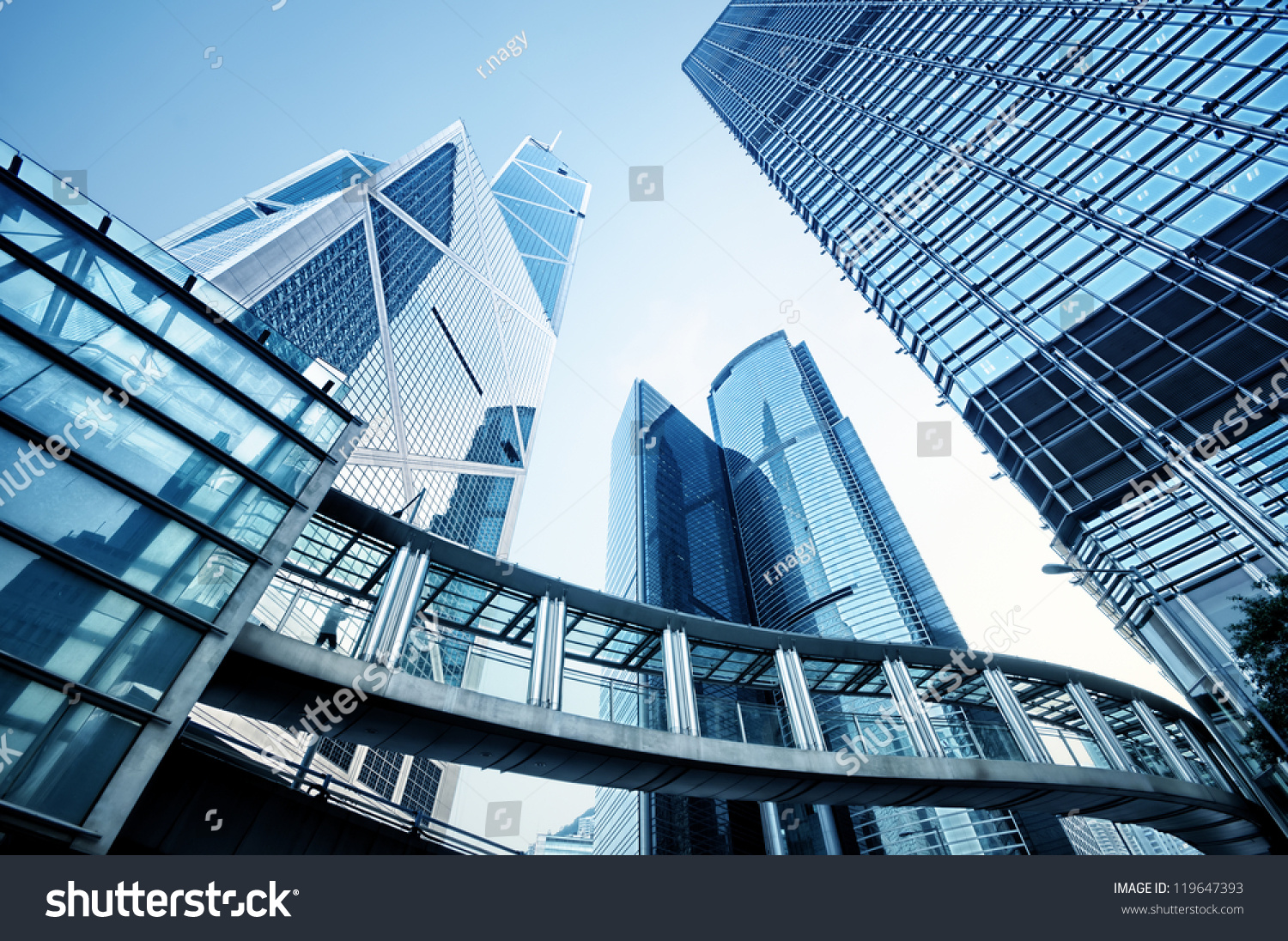 Toned image of modern office buildings in central Hong Kong. #119647393