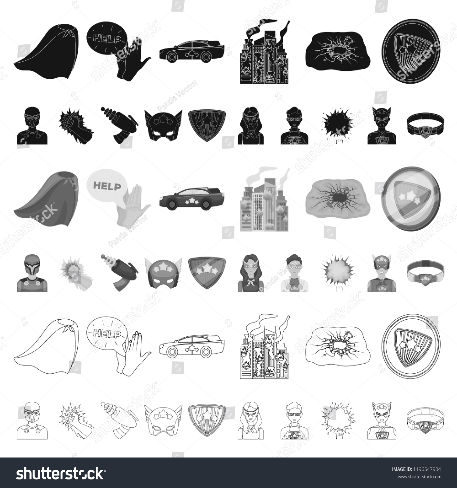 Fantastic Superhero Cartoon Icons Set Collection Stock Vector