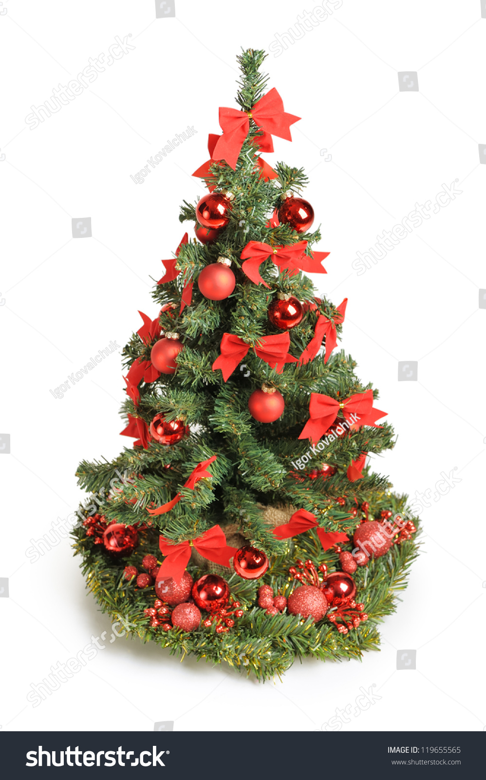 Christmas tree with red ornaments isolated on white stock for White tree red ornaments