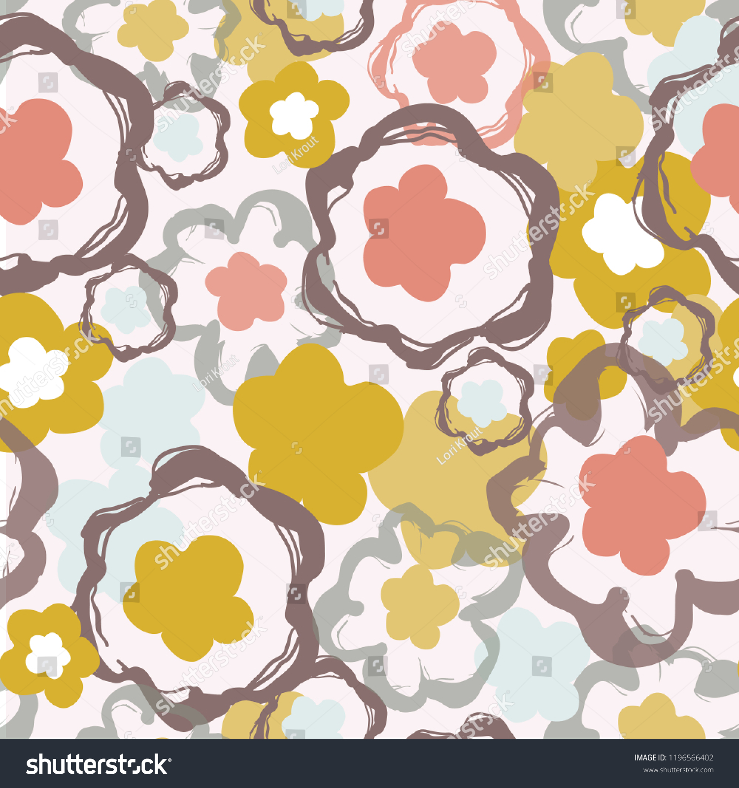 Retro 1960s Floral Pattern Pop Art Stock Image Download Now