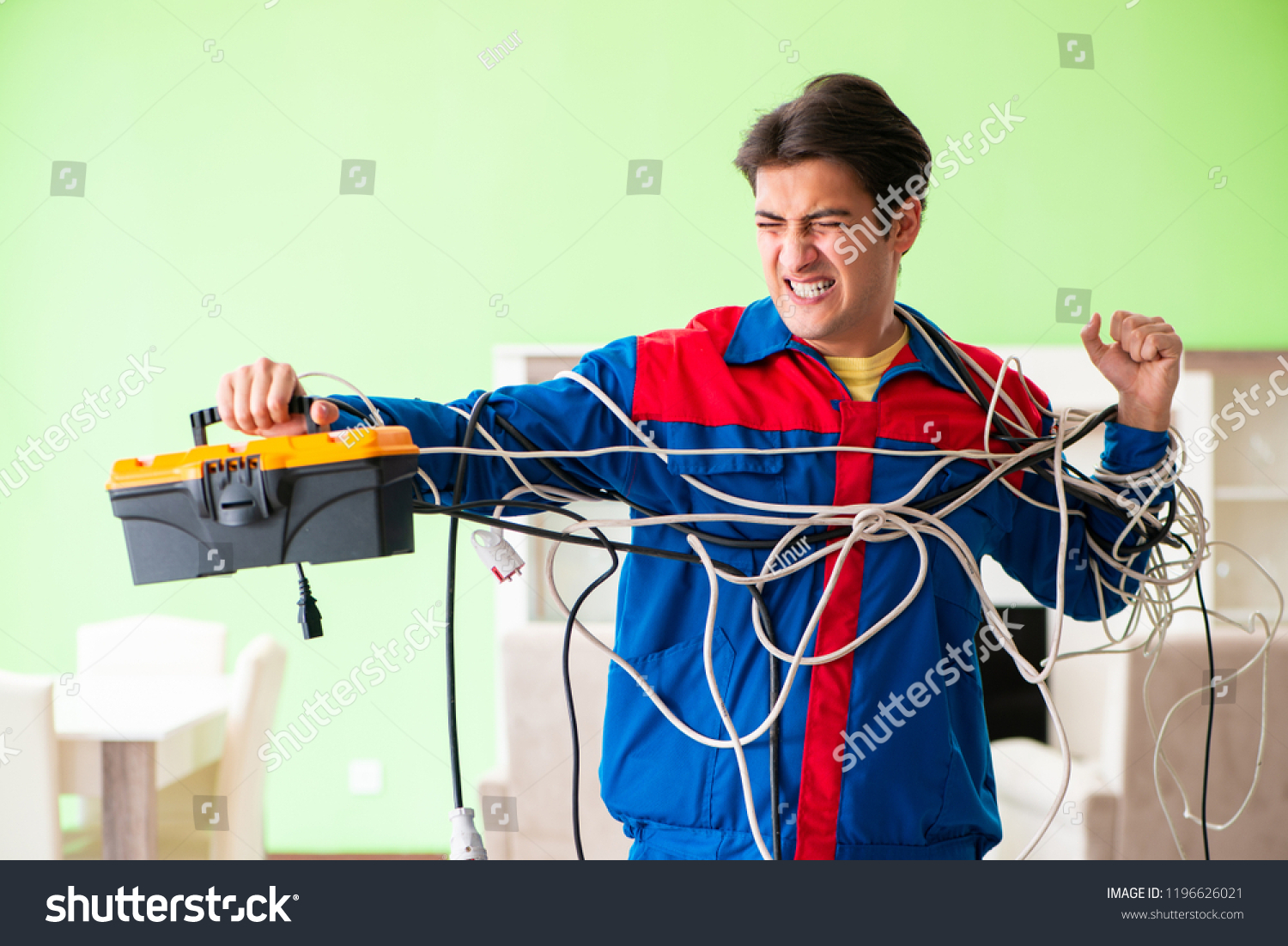 Electrician Contractor Tangled Cables Stock Photo Edit Now Cable Wiring With