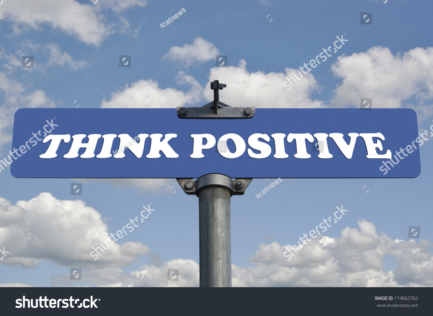 think positive road sign stock photo 119662762 shutterstock