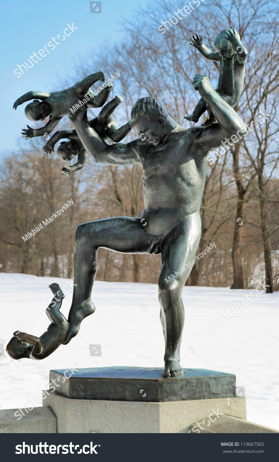 Oslo march sculpture in vigeland park on