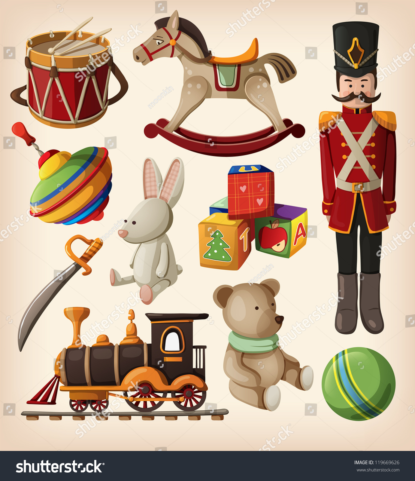 Christmas Toys Clip Art : Set of colorful vintage christmas toys for kids stock