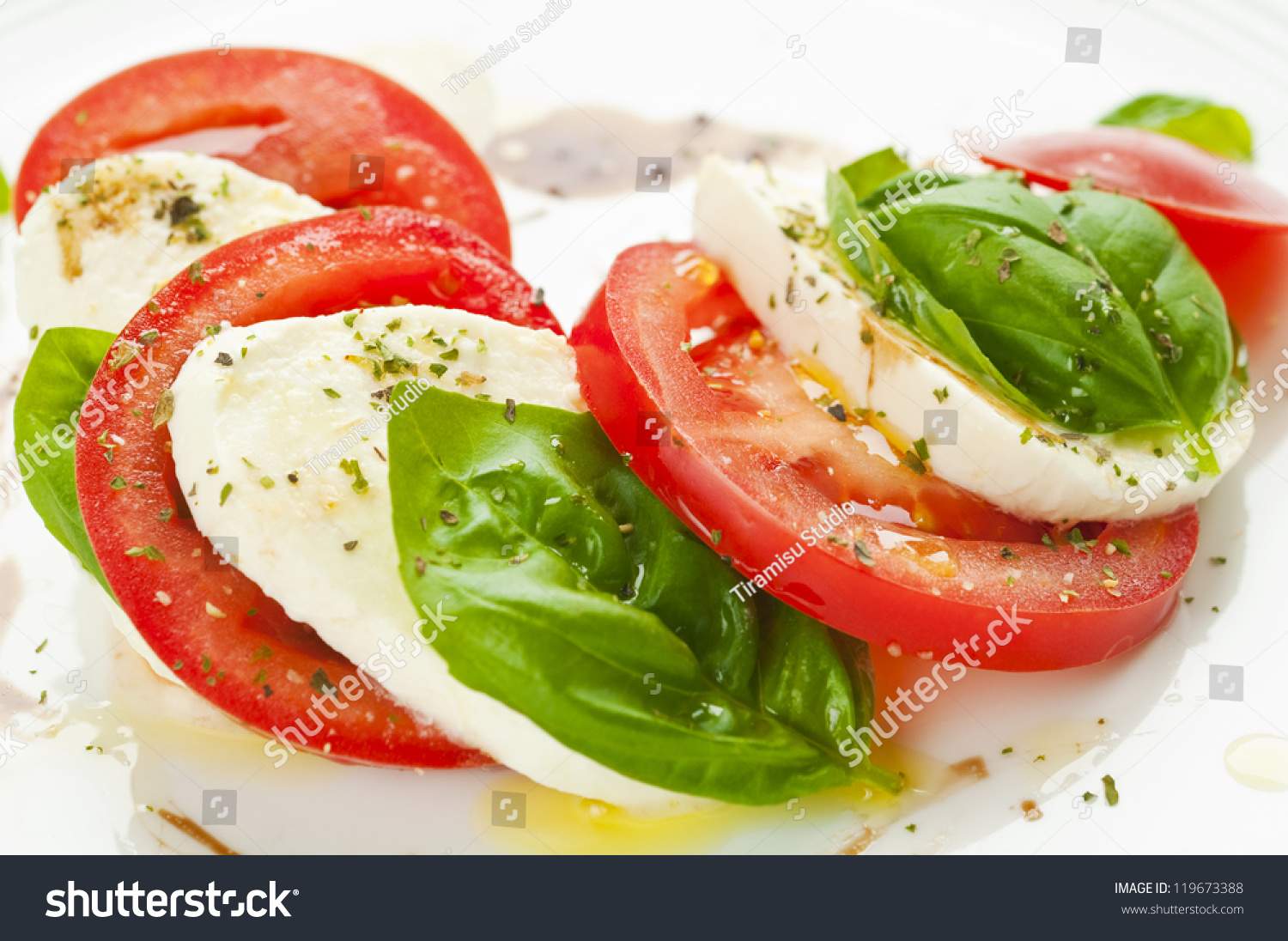 Caprese Salad With Mozzarella, Tomato, Basil And Balsamic ...