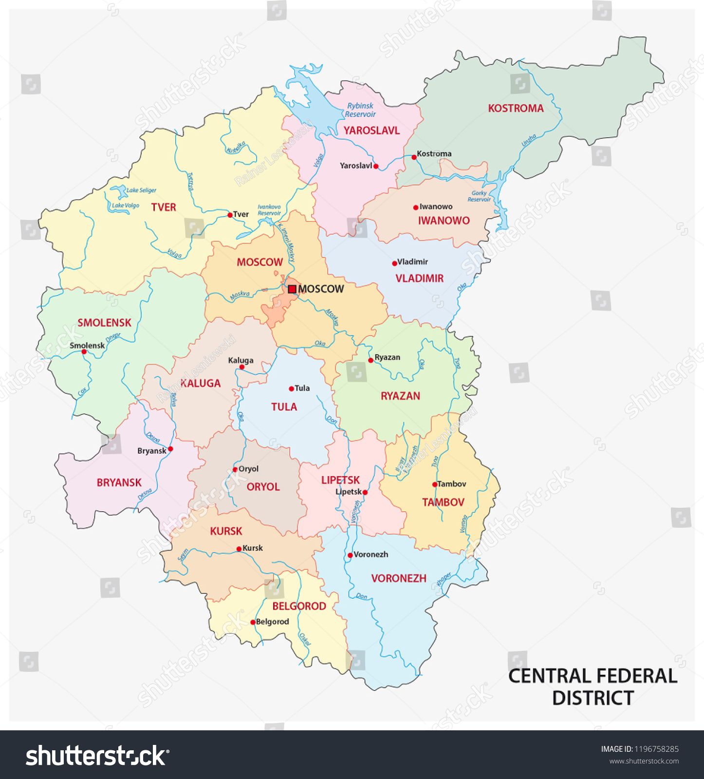 Central Federal District Administrative Political Vector Stock ...