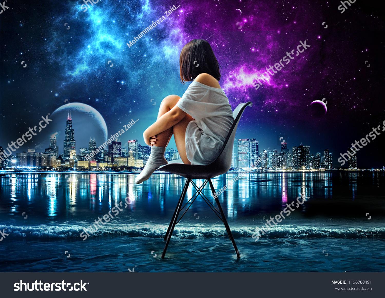 Digital art of alone girl sitting on sea looking at galaxy manipulation art digital