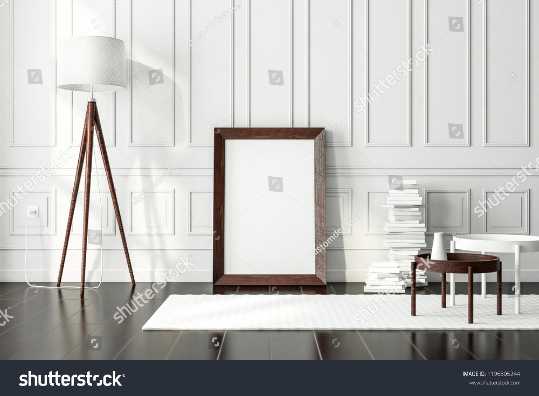 Dark vintage wooden poster frame mockup standing on the floor in modern interior 3d rendering