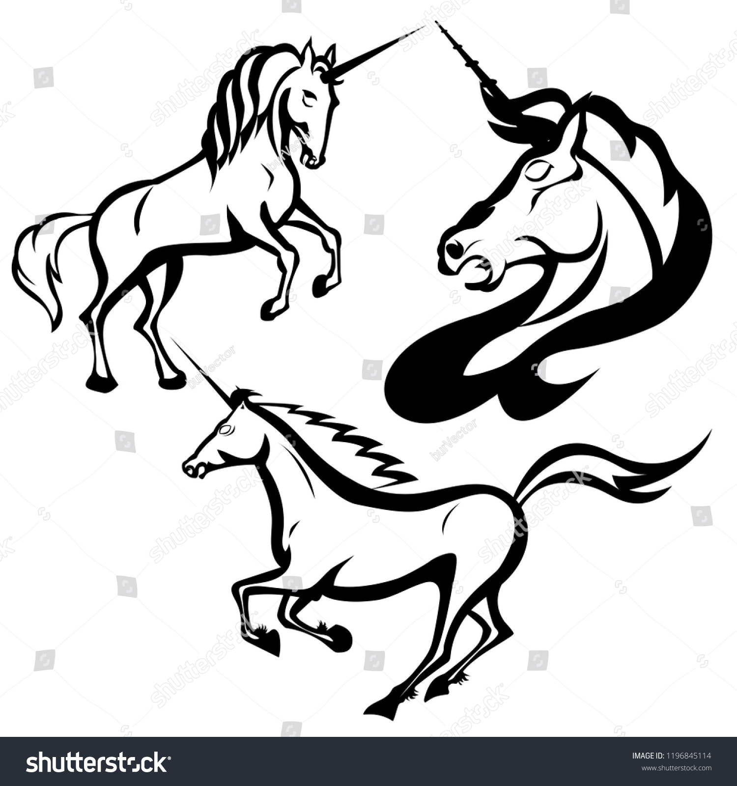 Set of drawings of unicorns in black and white vector illustration