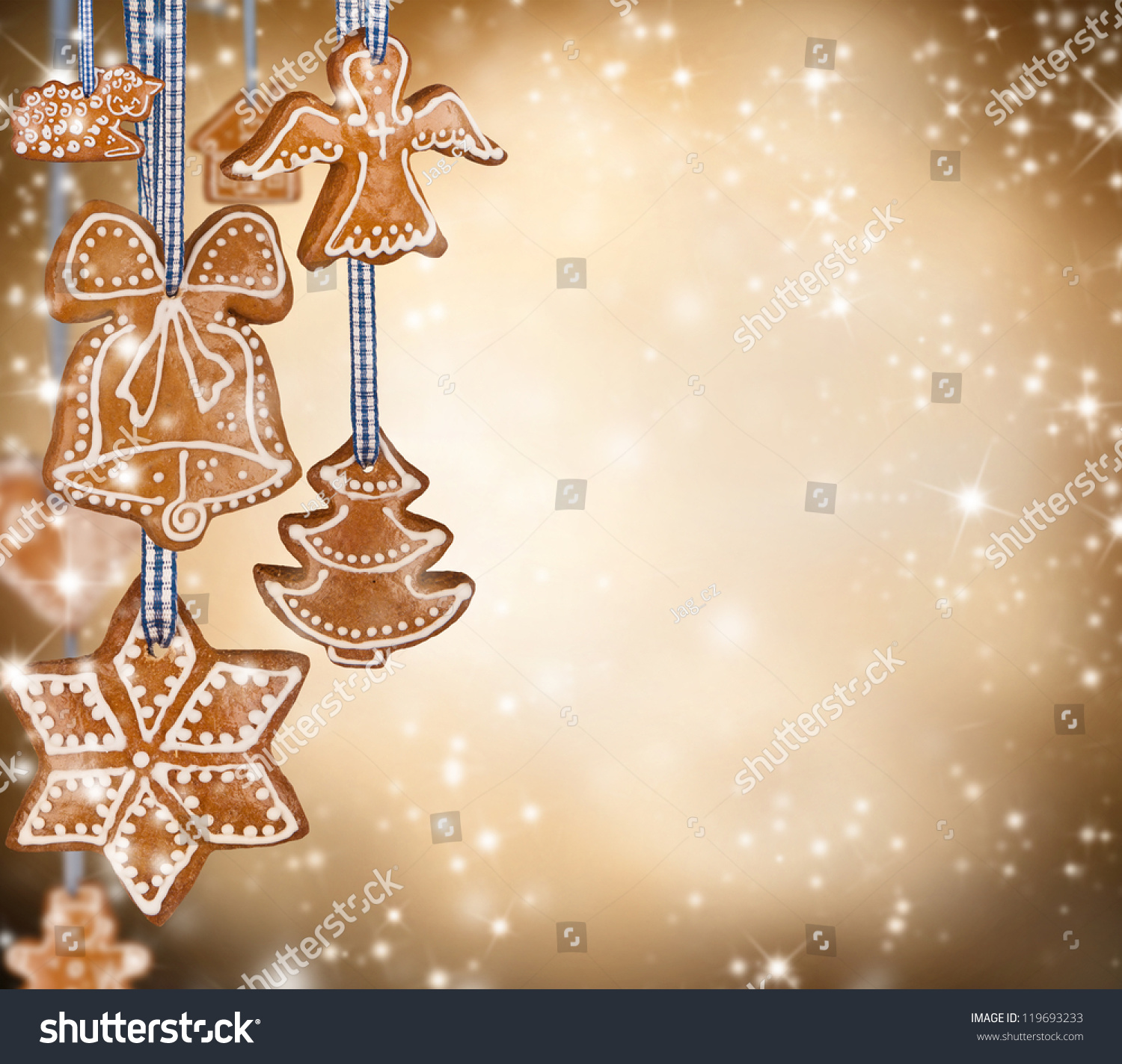 Traditional Gingerbread On Shiny Blur Background Stock ...