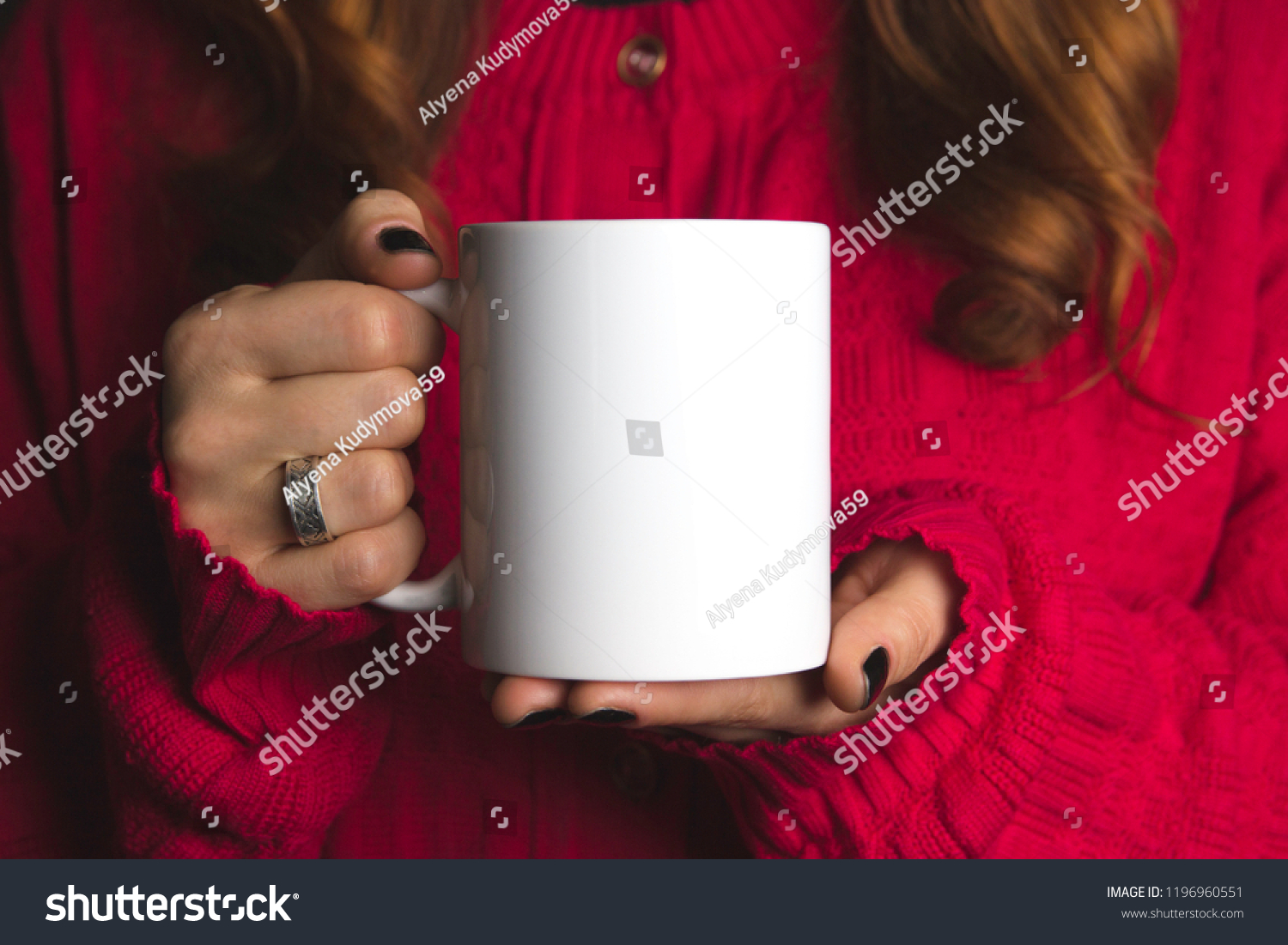 white mug mockup , red jacket