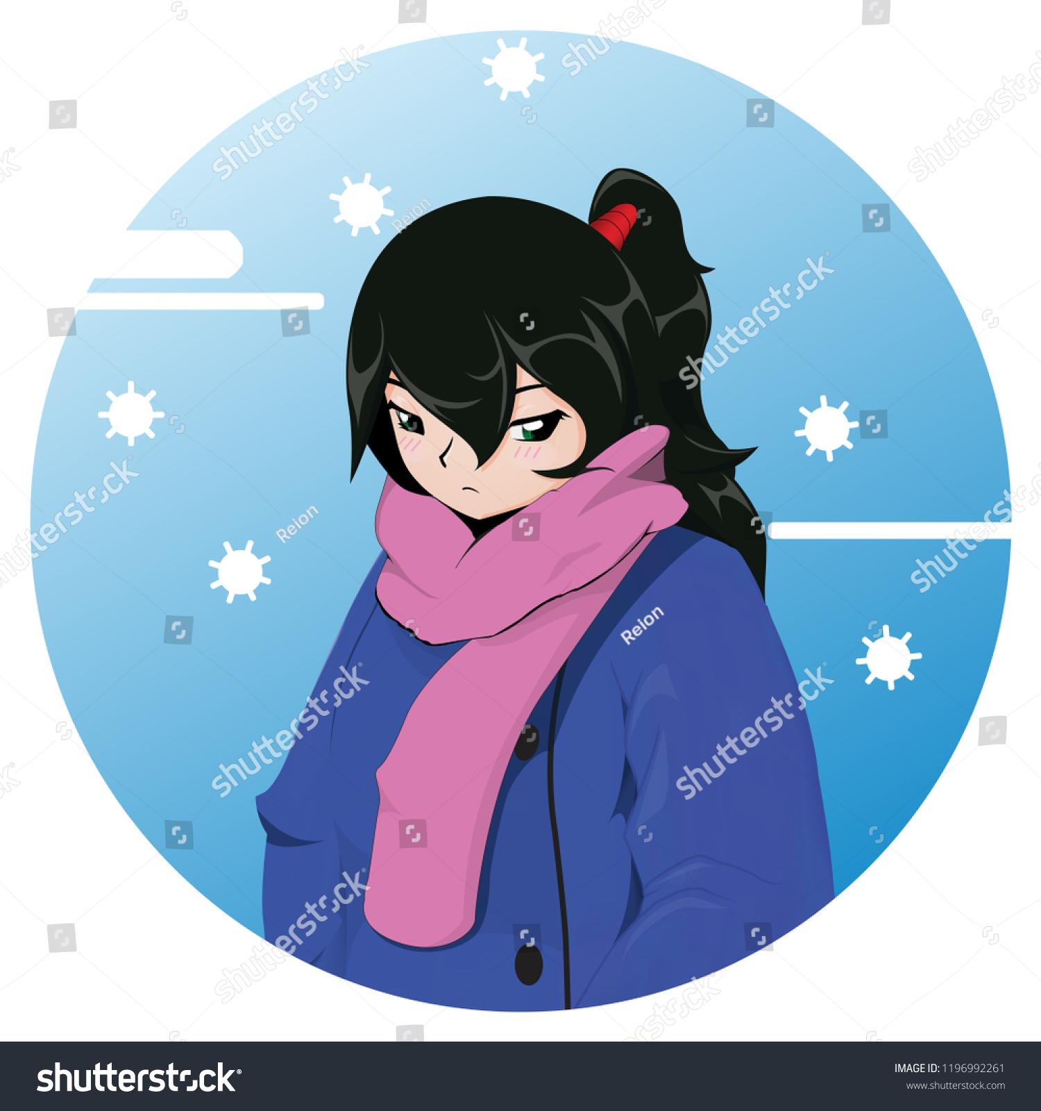 Winter Anime Girl Woman Winter Xmas Stock Vector Royalty Free 1196992261