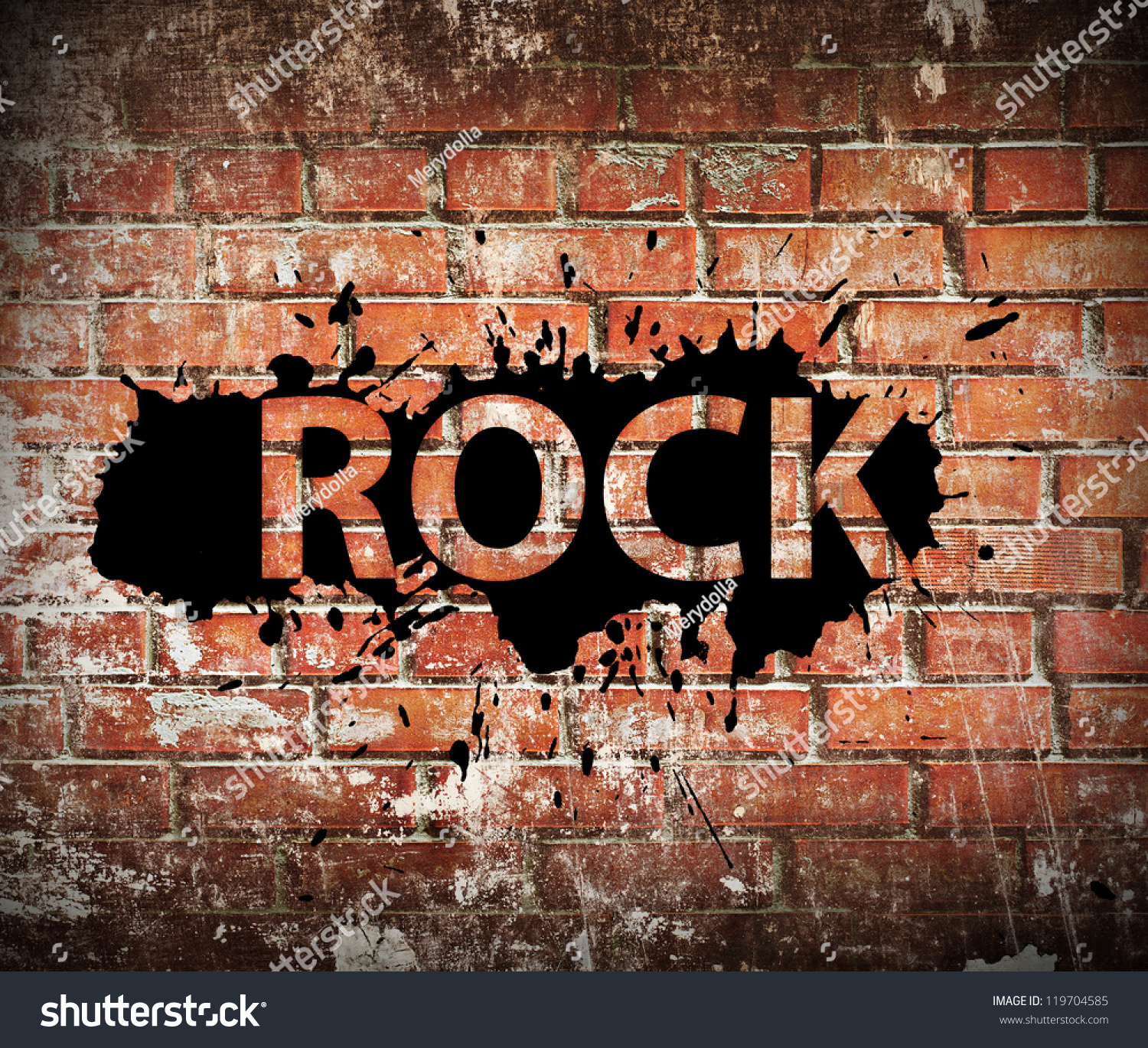 grunge rock music poster on red brick wall stock photo 119704585 shutterstock. Black Bedroom Furniture Sets. Home Design Ideas
