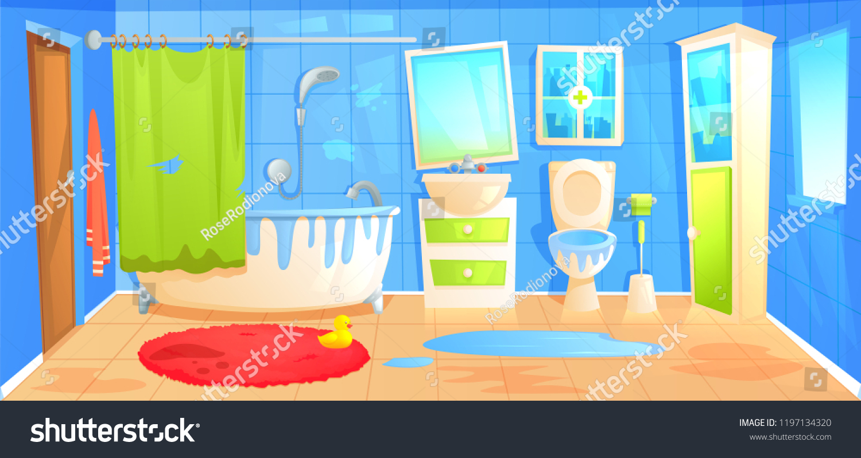 dirty bathroom design interior room ceramic stock vector royalty