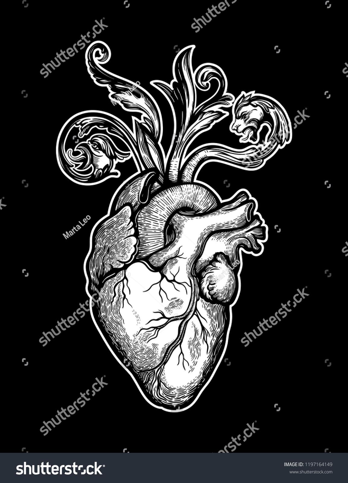 Decorative Naturalistic Heart Baroque Elements Vintage Gothic Stock