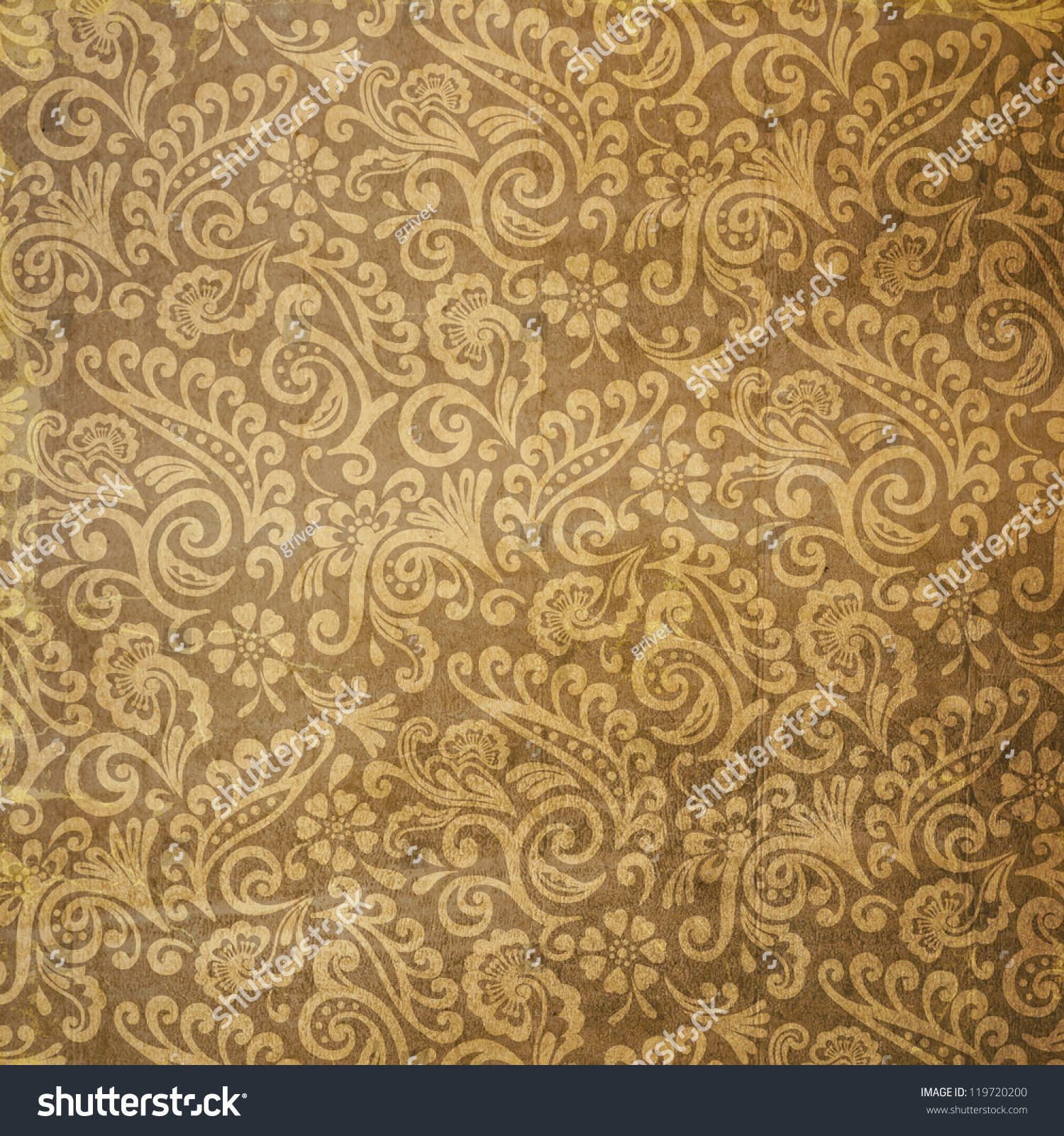 Used Vintage Victorian Floral Wallpaper Background Stock