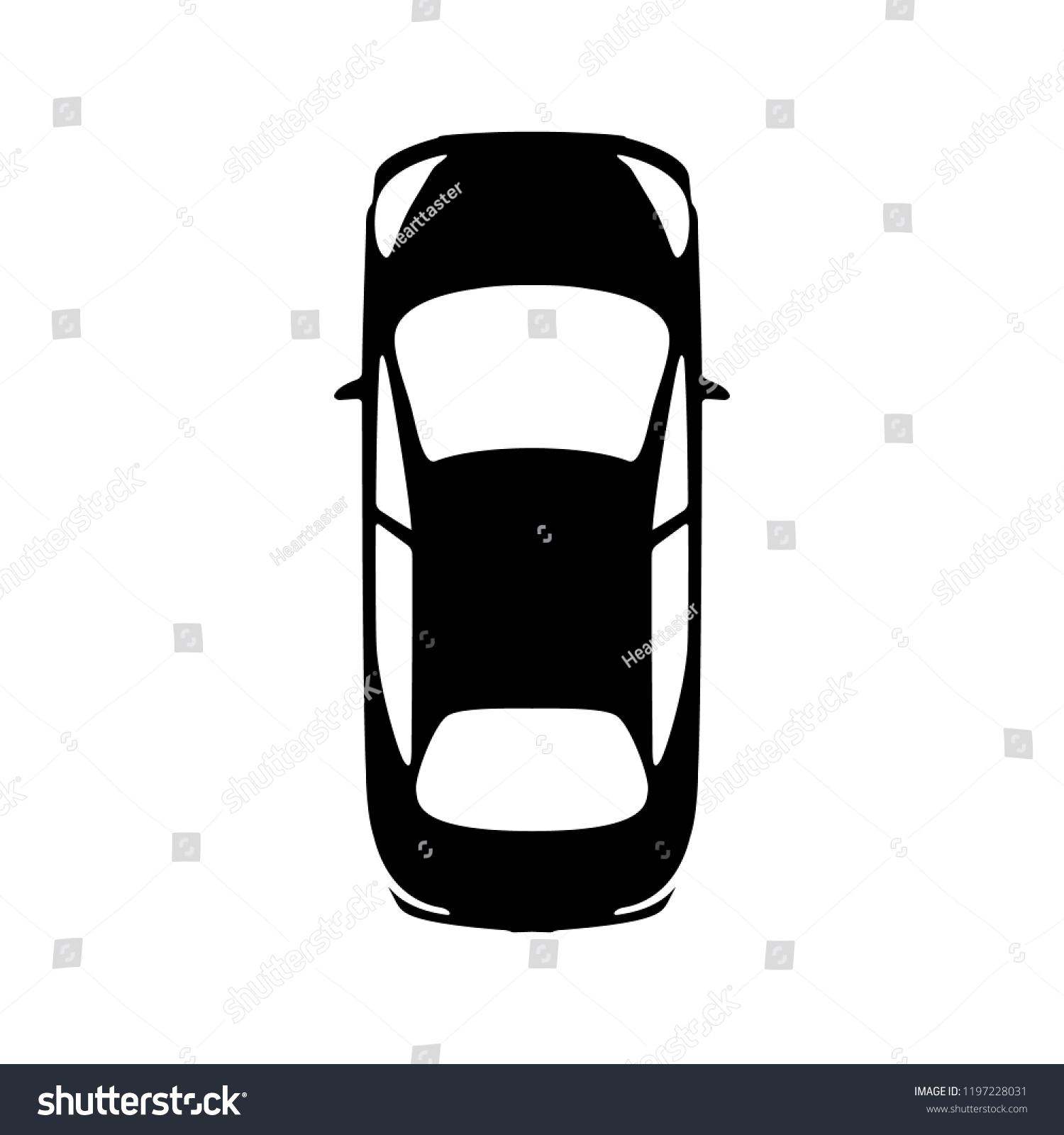 Big Black Car Top View Icon Stock Vector Royalty Free 1197228031