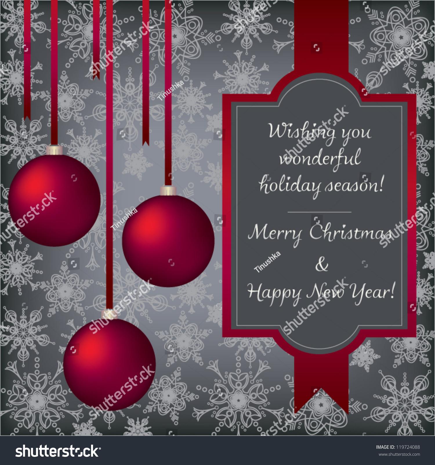 Elegant vintage christmas new year greeting stock vector 119724088 elegant vintage christmas and new year greeting card with red christmas balls and ribbon vector kristyandbryce Images