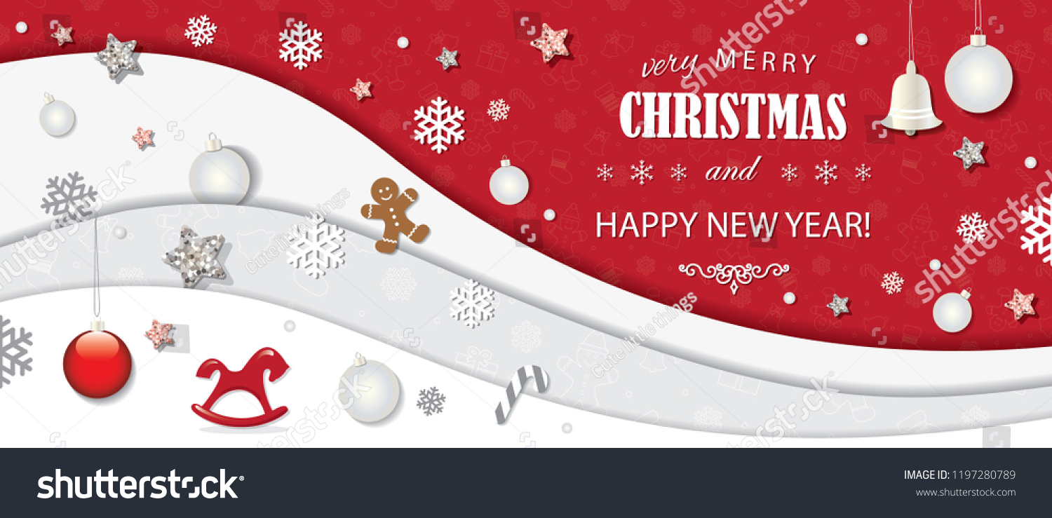 christmas and happy new year winter background 3d paper cutout layers with decorative elements