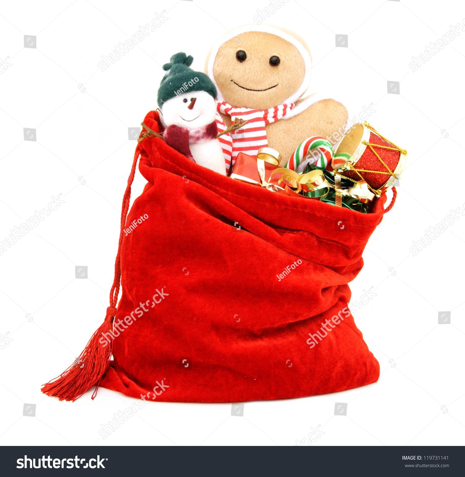 Sack Of Toys : Santas gift bag full toys gifts stock photo