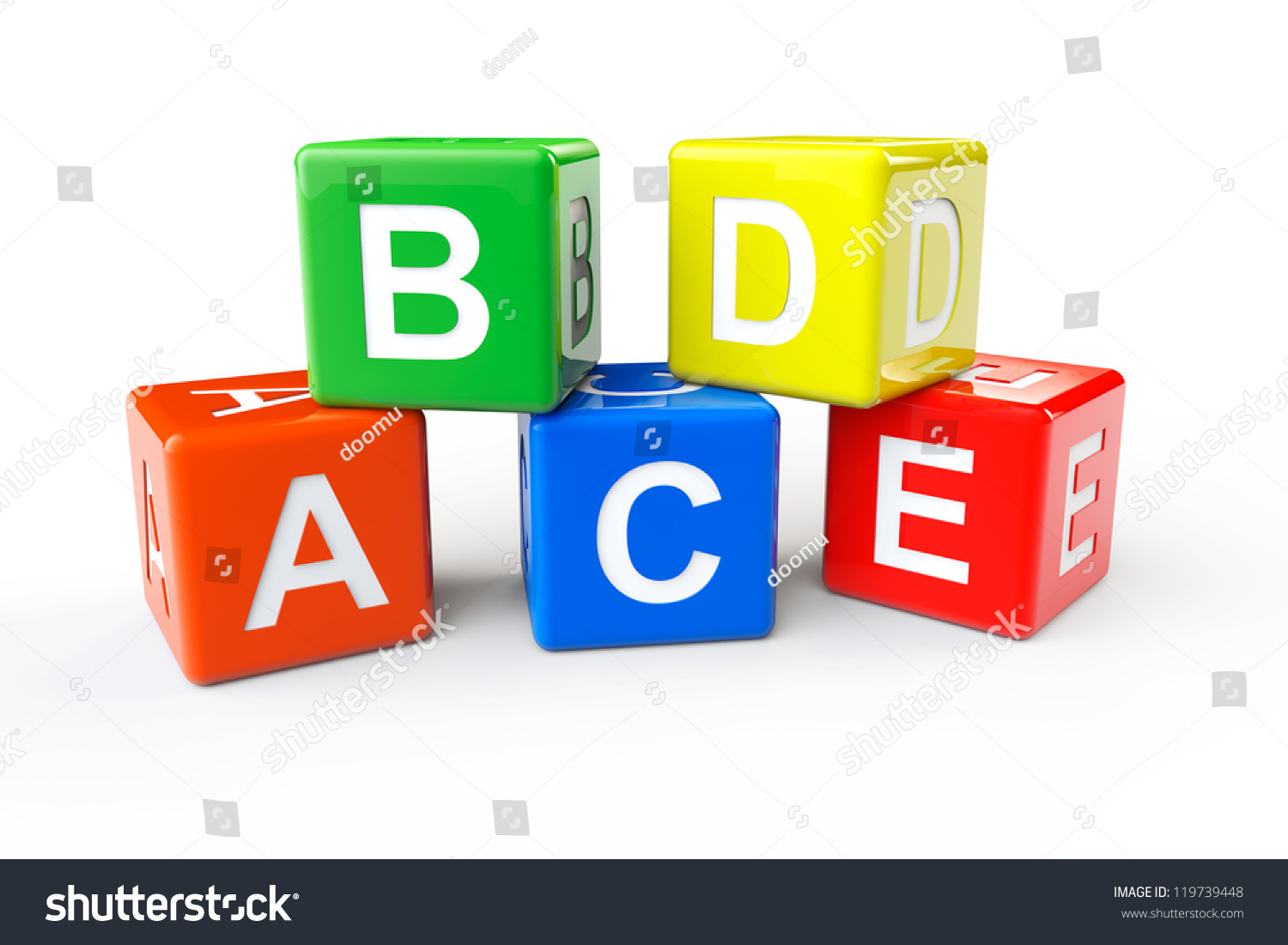 Alphabet concept abcd cubes on a white background stock photo