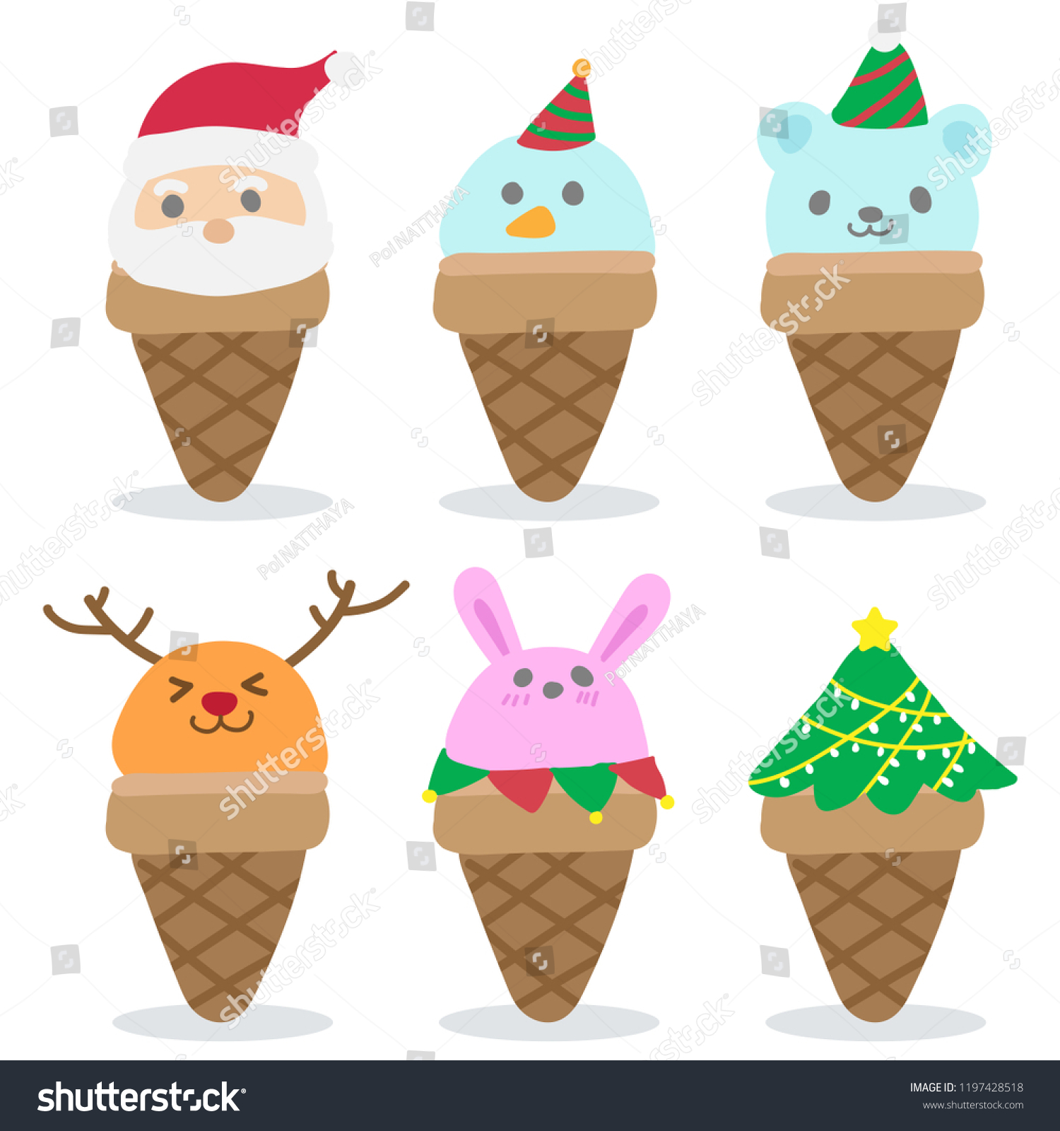 Set Christmas Cute Funny Ice Cream Stock Vector (Royalty Free ...