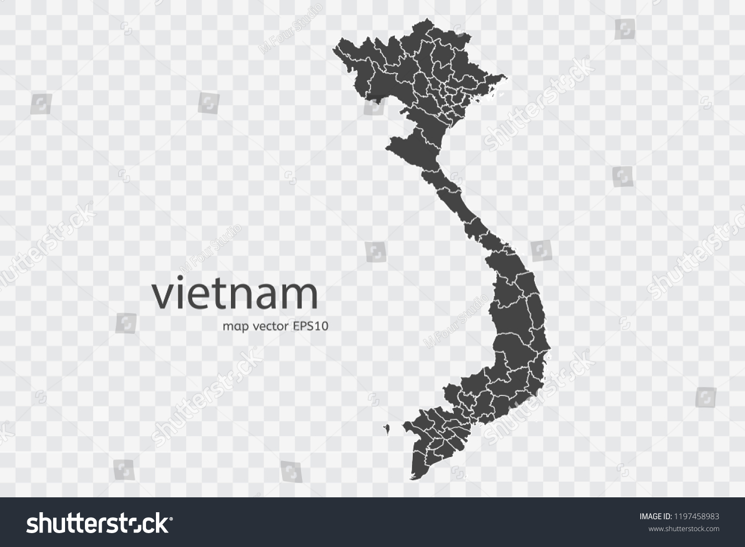Vietnam Map Vector Isolated On Transparent Stock Vector Royalty Free 1197458983