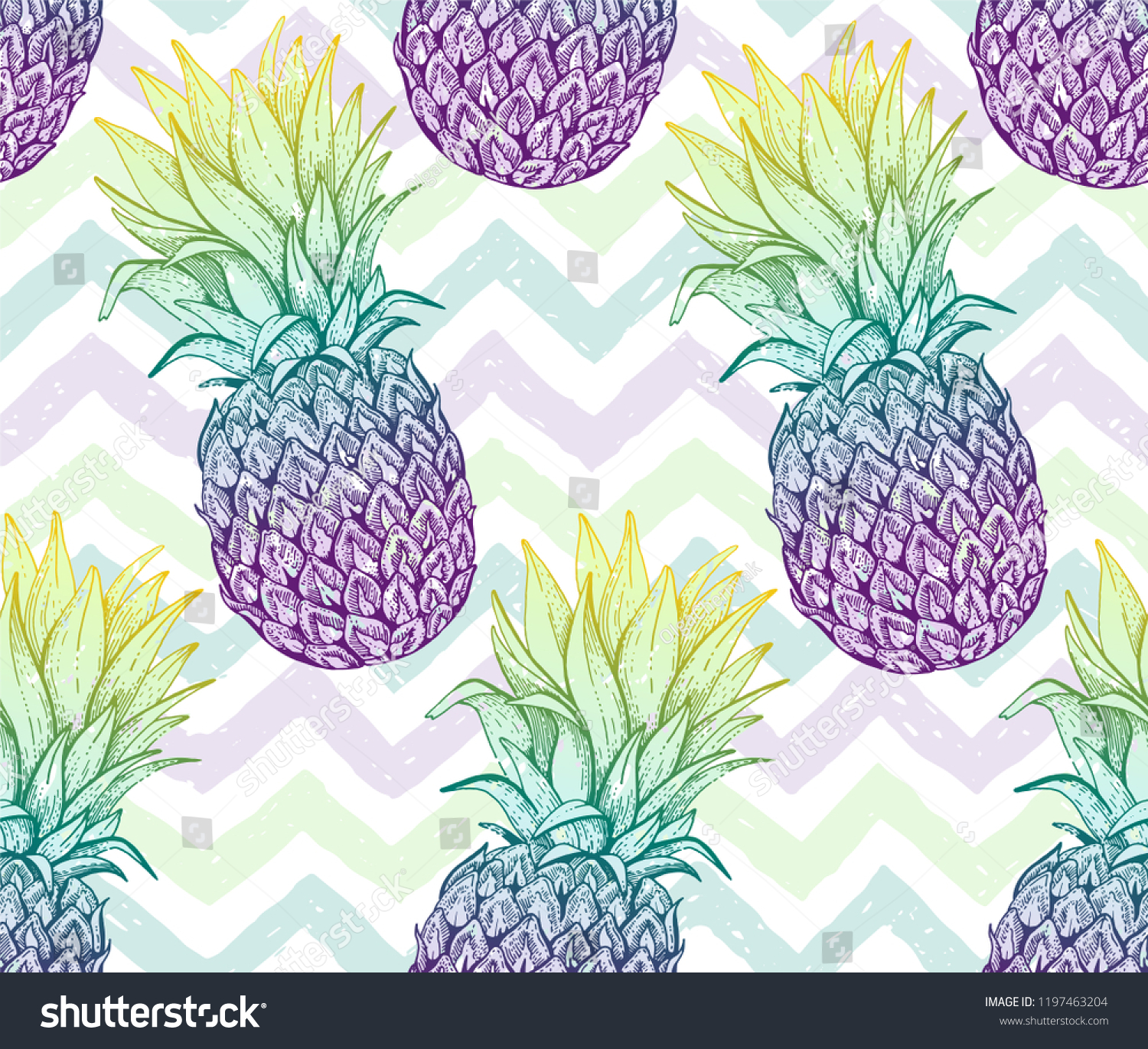 195f98bf Pineapple seamless pattern, hand drawn doodle texture. Textile print for  t-shirt.