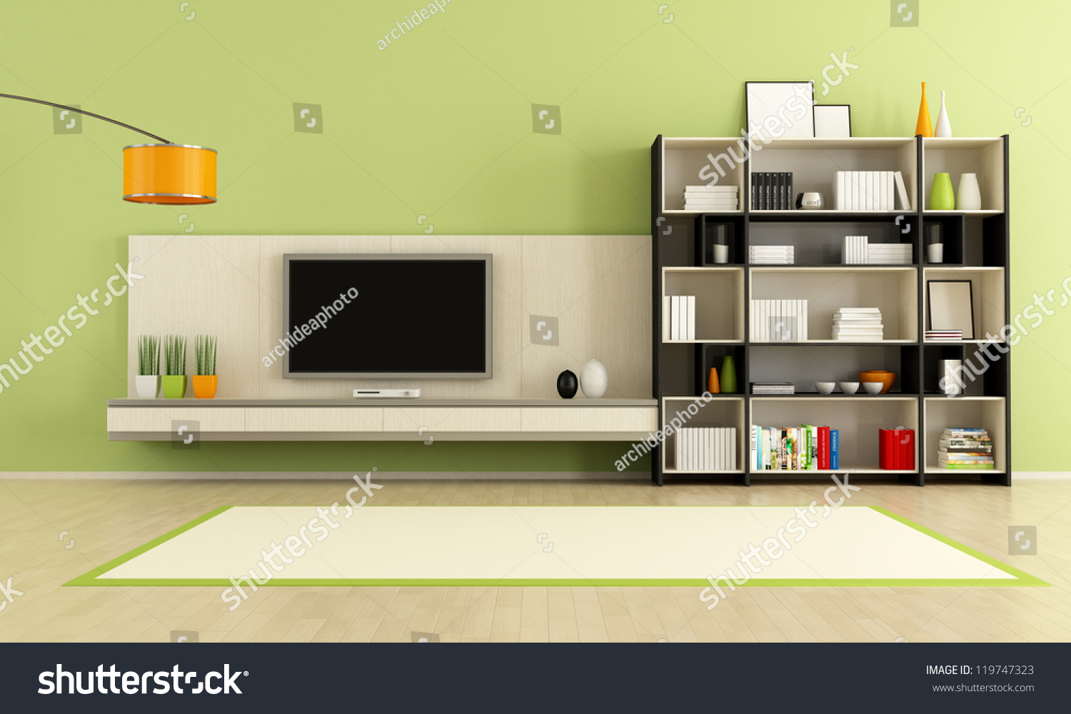 Green living room tv stand bookcase stock illustration for Greenliving com