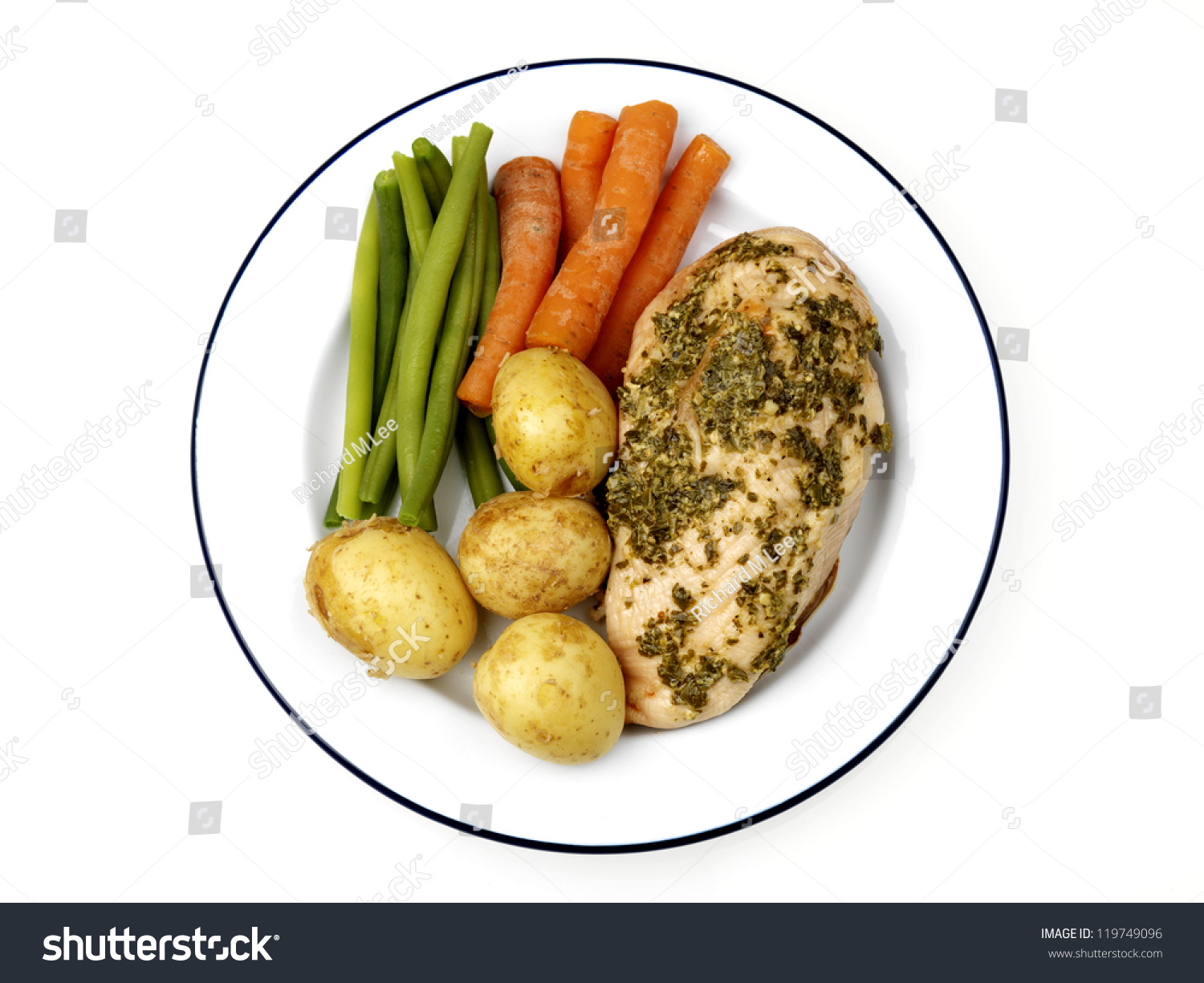 Grilled Chicken Breast With Vegetables Stock Photo 119749096 ...